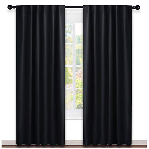 NICETOWN Blackout Curtains Shades Window Drapes - (Black Color) W52 x L95, Double Panels, Blackout Draperies Window Treatment for Living Room