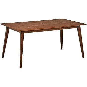 Amazoncom Rivet MidCentury Modern Oak Dining Table W Walnut - Mid century oak dining table