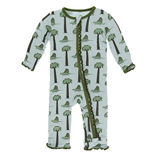 KicKee Pants Print Muffin Ruffle Coverall with Zipper (2T, Dimetrodon) ()