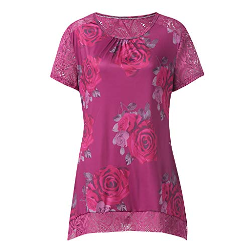 ca2d58c159d0d iPOGP Vintage Boho Women Summer Sleeve Beach Printed Hollow Loose Short  Mini Dress(Hot Pink,S)