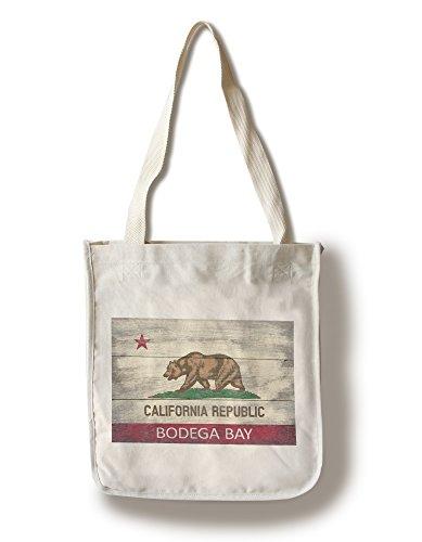 Bodega Bay, California - Rustic State Flag (100% Cotton Tote Bag - Reusable)