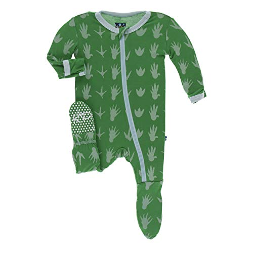 (Kickee Pants Little Boys Print Footie with Zipper - Dino Tracks, 2T)
