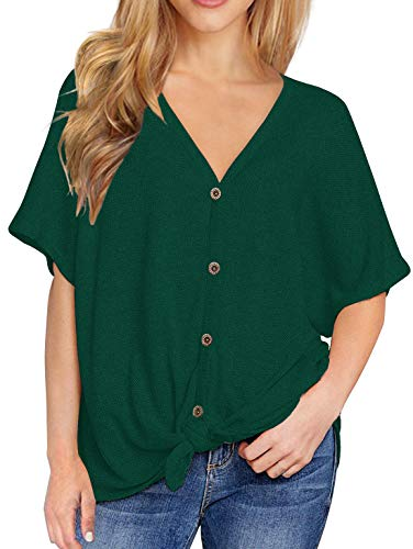 IWOLLENCE Womens Loose Henley Blouse Bat Wing Short Sleeve Button Down T Shirts Tie Front Knot Tops Dark Green -