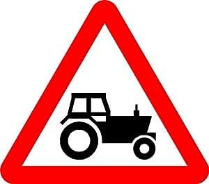 Tractor firmar. Seguridad vial Señal–3mm aluminio señal bajera con tiras de 2canal para trasera para montaje en Post 600mm x 600mm