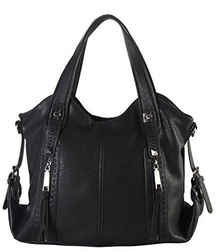 Double Front Pocket Handbag (Diophy Double Front Pockets Hobo Handbag CZ-3725 (Black))