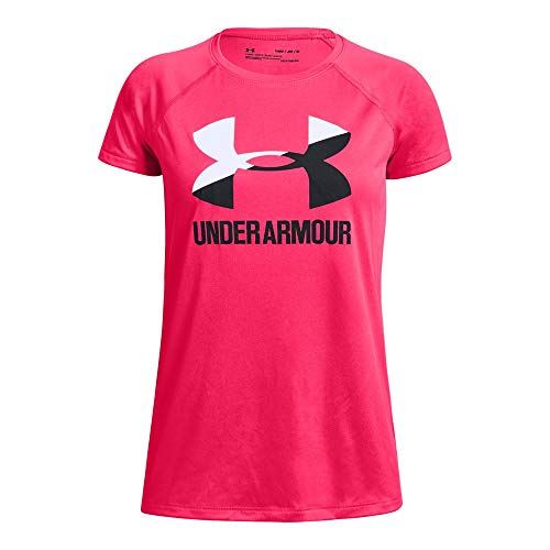Under Armour girls Big Logo Solid Short Sleeve T-Shirt, Penta Pink (975)/Black, Youth - Logo Short T-shirt Raglan Sleeve