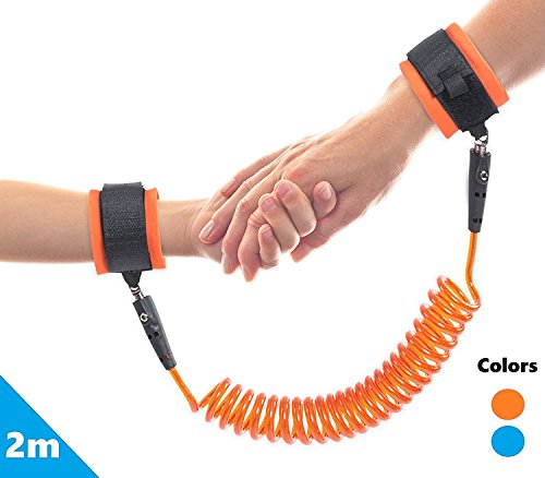 Anti Lost Wrist Link | Orange -2 Meters| For Baby,Toddler & Kids | Safety wrist link Toddler safety...