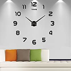 Frameless Large 3D DIY Wall Clock Mute Mirror Stickers Home Office School Decoration (2-Year Warranty)