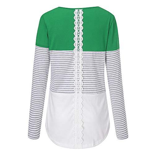 Lunghe T Patchwork Maniche Shirt Lunghe Donna Camicetta Camicia Lunghe in Lunghi a Verde Maniche a Pizzo Righe in Maniche CICIYONER a a 4xYCE