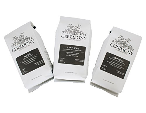 Ceremony Coffee Roasters – House Coffees Roast Variety Pack – Specialty Whole Bean or Ground Coffee- 3 x 12oz bags (Drip – Medium Grind)