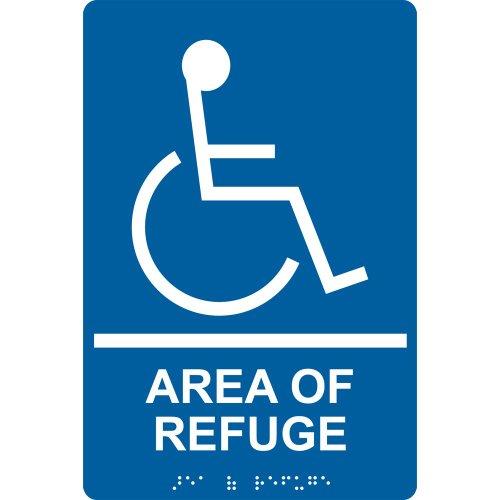 ComplianceSigns Acrylic ADA Area of Refuge / Rescue sign, 9 x 6 inch Tactile + Braille (Asylum Foam Sign)