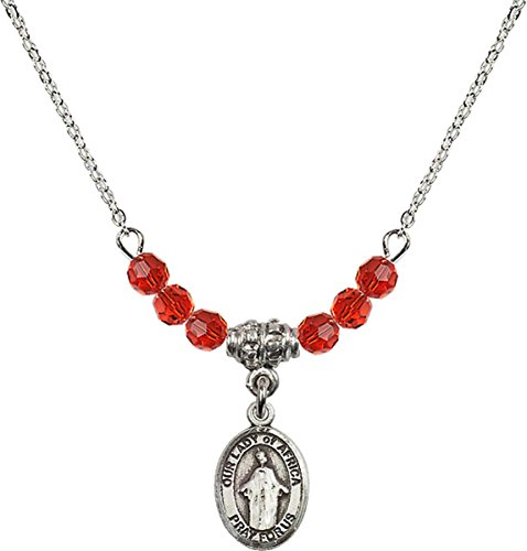 July Birth Month Bead Necklace with Our Lady of Africa Petite Charm, 18 Inch by Birth Month Necklace Collection