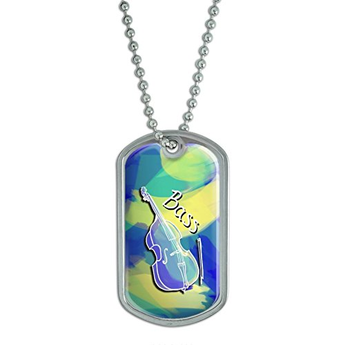 String Bass - Upright Bass Musical Instrument Music Strings Band Orchestra - Blue Military Dog Tag Keychain