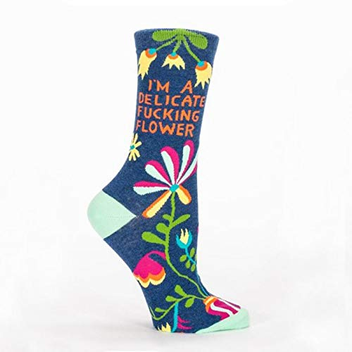 Blue Q Socks, Women's Crew, I'm A Delicate F–king Flower