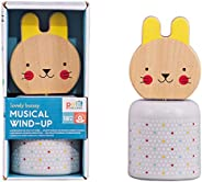 Petit Collage Eco-Friendly Baby Wooden Wind-Up Musical Bunny Toy, 18 Months+, Multi