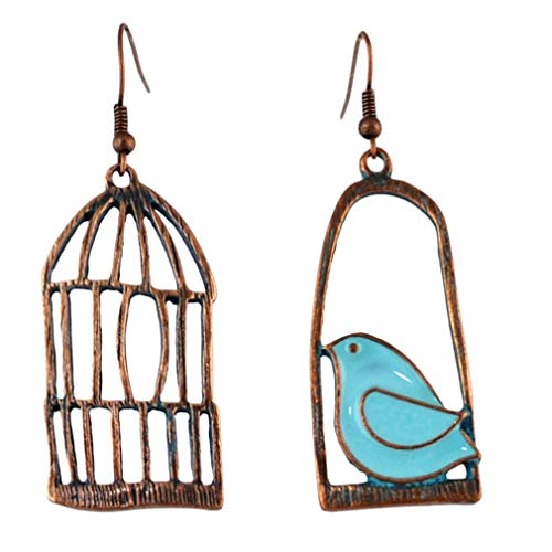 YAZILIND Women Bohemian Dangle Drop Earrings Vintage Bird Birdcage Fish Fishhook Earrings Statement Retro Ethnic Bronze Ear Jewelry