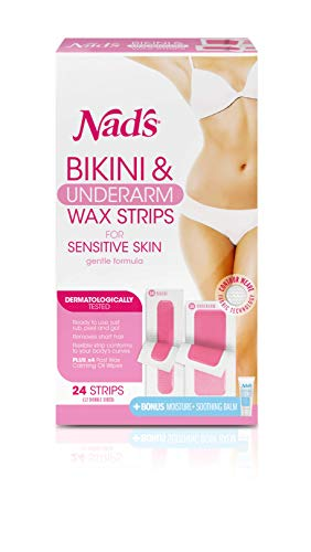 Nad's Bikini and Underarm Strips with Moisture Plus Body Balm, 2.8 Ounce (Nads Body Wax Strips For Normal Skin)
