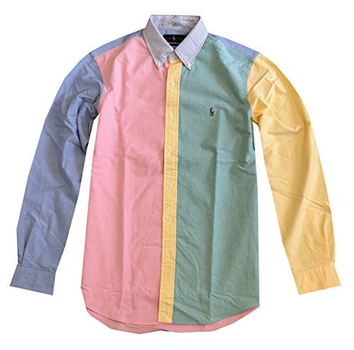 (RALPH LAUREN Mens Classic Fit Oxford Button-Down Long Sleeve Shirt (S, Multi))