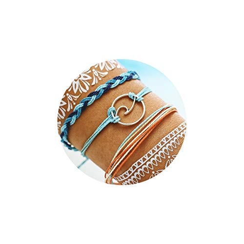 FINETOO Wave Braided Rope Bracelet Set Handmade Waterproof Wrap Bracelet for Woman Kids