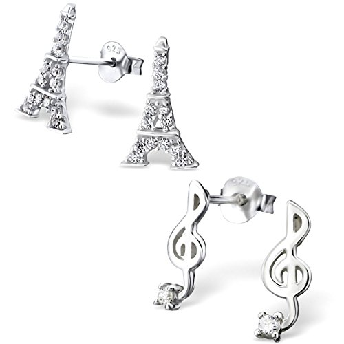 925 Sterling Silver Hypoallergenic Set of 2 Pairs Eiffel Tower & Music Note Stud Earrings for Girls and Womens (Nickel Free) 20509 (Ring Eiffel Tower)