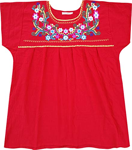YZXDORWJ Embroidered Mexican Peasant Blouse (S, D169-R)