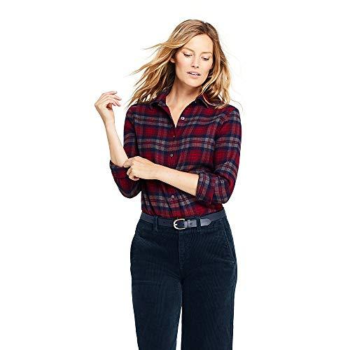 Lands' End Women's Flannel Shirt, 16, Charcoal Heather Plaid