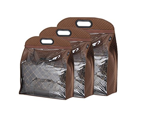 - YEHAM 3 Sizes Handbags Storage Dust Cover Bag Storage Hanging Closet Organizer Purse (Brown)