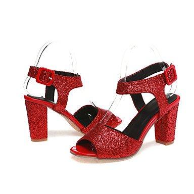 LvYuan Mujer-Tacón Robusto-Zapatos del club-Sandalias-Vestido Informal Fiesta y Noche-Purpurina Materiales Personalizados-Morado Rojo Plata Oro Red