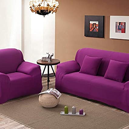 Petsdelite Candy Purple, Single Seater: Sectional Couch Covers L-Shaped Sofa Cover Elastic Universal Wrap The Entire Sofa Slipcove