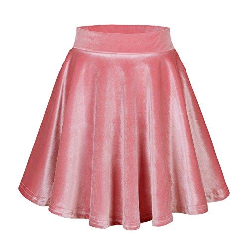 Urban CoCo Women's Vintage Velvet Stretchy Mini Flared Skater Skirt (M, Pink)