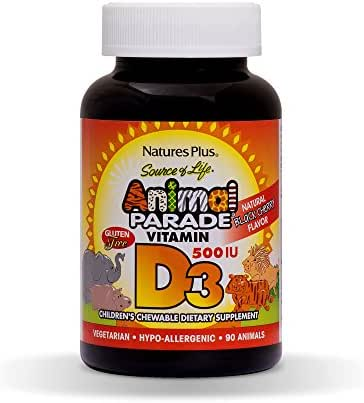 NaturesPlus Animal Parade Source of Life Chewable Vitamin D3 for Children - 500 iu - 90 Animal Shaped Tablets - Black Cherry Flavor - Gluten-Free, Vegetarian, Hypoallergenic - 90 Servings