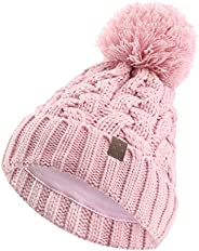 ASUGOS Kids Fall Winter Hats Cotton Jersey Lined Soft Warm Boys Girls Cold Weather Beanie with Big Yarn Pom Po