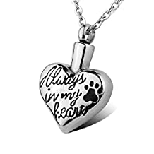 HOUSWEETY Stainless Steel Always In My Heart Pet Dog/Cat Paw Love Heart Waterproof Cremation Urn Necklace Ash Memorial Jewelry (Non-Engraving)