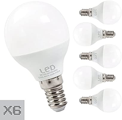 Sunmatic Bombilla LED MiniGlobe 6W=42 W | 470 Lúmenes | Rosca E14 | No regulable | Tono de luz cálido- (2700K) Pack de 6 unidades
