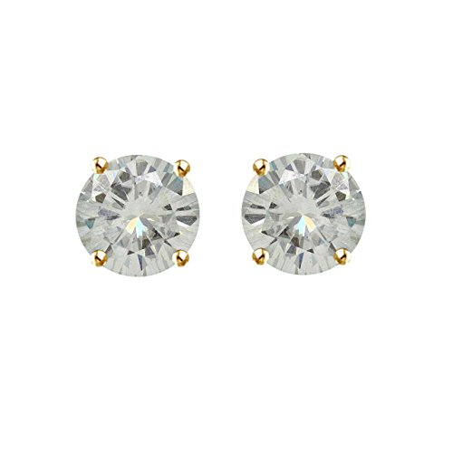 5.5mm VG Moissanite Gold over Sterling Silver Push Back Round 4 Prong Stud Earrings (1.2 cttw Diamond Equivalent Weight, I-J Color, SI1-SI2 Clarity), Yellow by Jewel Zone US