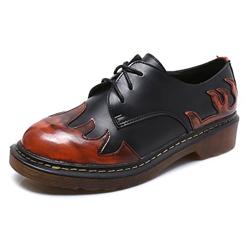 Smilun Lady¡¯s Brogues Classic Lace-up Flats Shoes for Autumn Winter Spring Slip On Red Orange Flames Size 10 B(M) US by Smilun (Image #1)