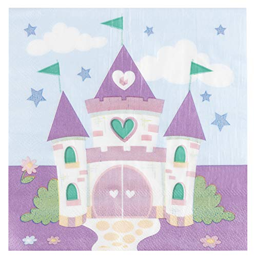 Cocktail Napkins - 150-Pack Luncheon Napkins, Disposable Paper Napkins Princess Party Supplies for Kids Birthdays, 2-Ply, Castle Design, Unfolded 13 x 13 Inches, Folded 6.5 x 6.5 Inches