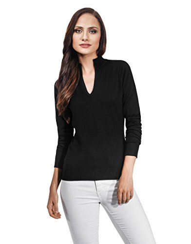 Vincenzo Boretti Woman's Sweater with V-neck and stand-up collar,black,Large