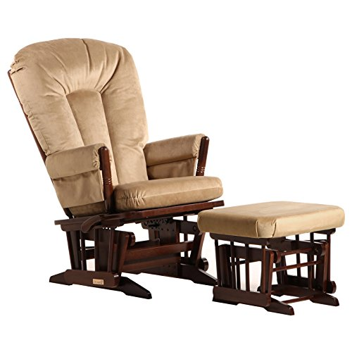 Dutailier Colonial Glider-Multi-Position Recline and Ottoman Combo, Coffee/Light (Nursery Multi Position Wood Glider)
