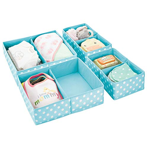 mDesign Soft Fabric Dresser Drawer and Closet Storage Organizer for Child/Kids Room, Nursery - Divided 2 Compartment Organizer - Fun Polka Dot Print - Set of 4, 2 Sizes - Turquoise with White Dots