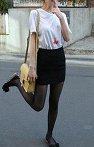 Runyue Femmes Jupe Courte en Taille Haute Uni lgante Chic Jupe Crayon Moulant avec lastique Taille Noir