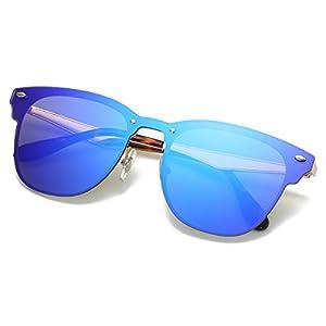 LKEYE Clubmaster Classic Unisex Sunglasses Futuristic Integral Rimless Lens LK1738 Blue