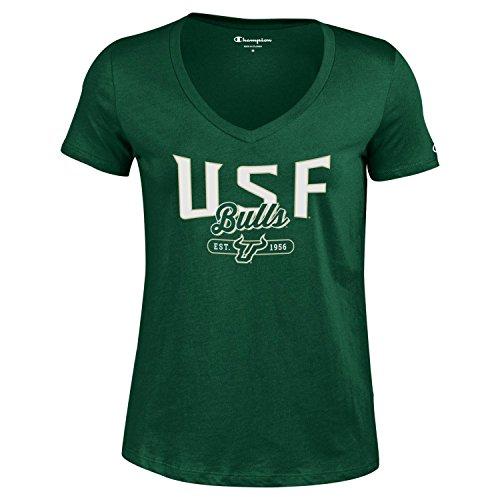 Champion NCAA Women's University Short Sleeve Tagless Lady's V-Neck Tee, South Florida Bulls, ()