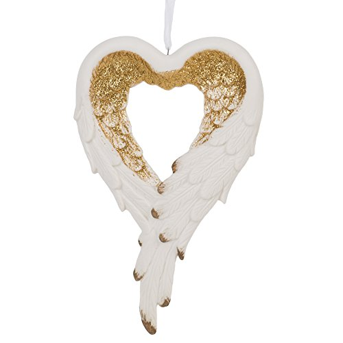 Wrapped in Angel's Wings Heart Gilded Gold 4 x 6.5 Inch Porcelain Holiday Tree Ornament (Ornaments Feather Angel Wing)