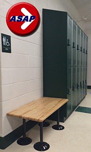 ADA Locker Room Bench with Hardwood Top and Powder Coated BLACK Steel Pedestals - 48