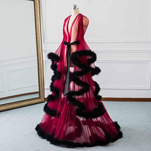 Feather Scarf Long Bridal Robe Sexy Wedding Sleepwear Illusion Red Bathrobe black Lingerie Nightgown Robe Changuan 78azxwq