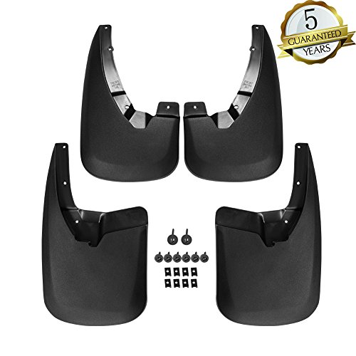 (KIWI MASTER Front and Rear Molded Splash Guards Mud Flaps for 2009-2018 Dodge Ram 1500 & 2010-2018 Dodge Ram 2500/3500 (Without OE Fender Flares),4 Piece Set,Black)