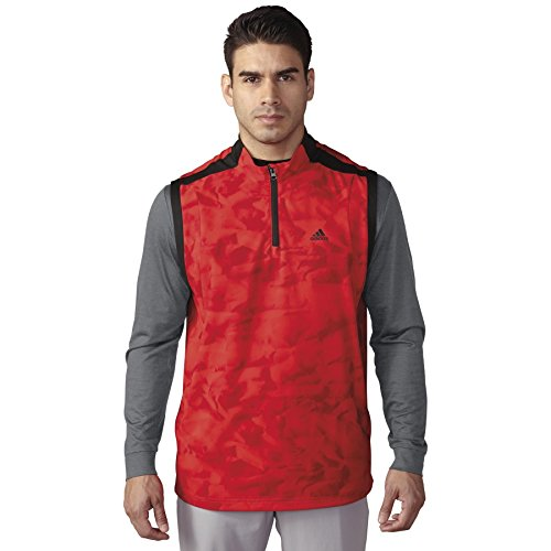 adidas Golf Men's Climastorm Competition Wind Vest, Red/Black, Medium