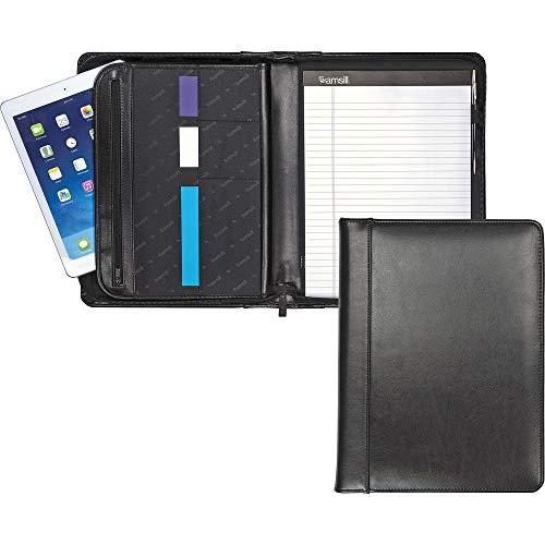 (Samsill Leather Zipper Padfolio with Writing Pad, Organizer Slots, Black)