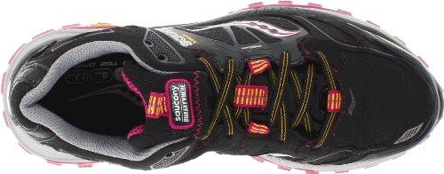 Saucony Women's Xodus 4.0 GTX Running Shoe,Black/Purple/Yellow,5 M US